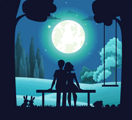 Night forest landscape, young romantic couple sitting on bench under moonlight. Date on moonlit night. Tree with hanging swing, pair of hares. Deciduous forest, bushes background. Bright round moon