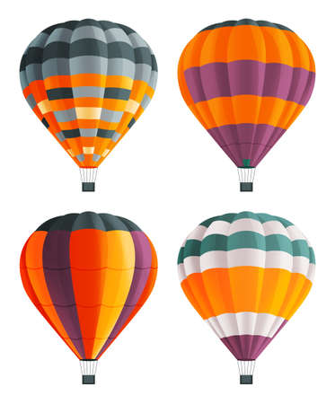 Set of colorful balloon for flights. Hot aircraft. Flying in the clouds on bright airship. Cartoon airy flying hot air machines. Varicoloured stripes aerostats. Balloons festival. Flat image