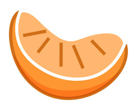 Orange piece or mandarin, slice of citrus, sweet summer fruit isolated at white, simple vector icon, fresh eco natural organic product, diet, vegeterian, ripe juicy food, vitamins, healthy eating