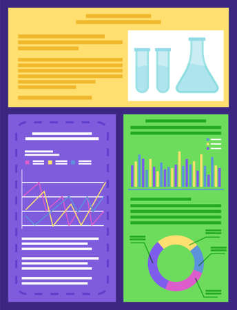 Chemical laboratory concept with instrumentation glassware, burners and fluids, infographic vector. Measurement experiments, reactions with acids and graphics. Chemistry lab beakers illustration