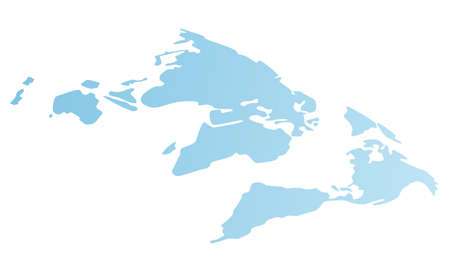 World map vector simplified image. Cartoon blue continents or mainlands. Illustration of a flat gradient blue globe rotated 45 degrees. Earth with countries of the world image. Flat presentation