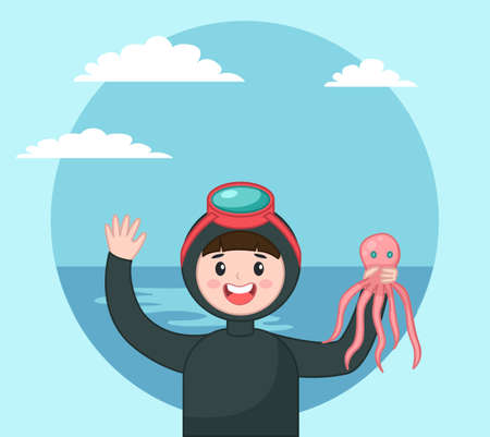 Diver isolated icon portrait of diver in diving mask holding octopus at background of sea and sky, underwater summer activity, diving tourism, man going to dive, snorkeling leisure or hobby concept Stock Illustratie