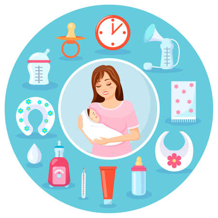 Mother with newborn baby in hands. Clock, pump, plaid, bib, baby bottle, cream, thermometer, device for heating, drop, toilet cover, measuring bottle, nipple. Instruments for baby s life