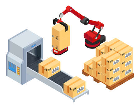 Isometric 3d picture. Robotic machine put boxes from conveyor belt at wooden pallet. Automatic robot packaging product into card boxes. Industrial engineering machine at factory, isolated at white 向量圖像