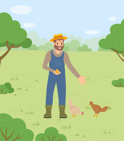 Farmer man in hat feeding chickens hens with cereals and wheat seeds countryside landscape. Tending domestic birds, smiling bearded farmer worker with food for fowls. Poultry breeding concept 向量圖像