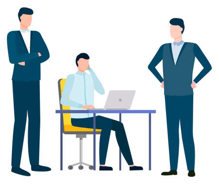 Business partners working together vector, people wearing formal suits looking at worker. Man sitting by laptop talking on phone, businessman in office