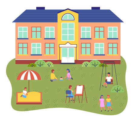 Children playing playground in front of the kindergarten building. Kids on the summer play-field playing with sand, drawing, play games, riding a swing, walking. Concept of summer kids school camp