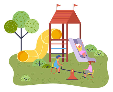 Cute happy cartoon kids playing in playground on the backyard. Childrens summer playground with slide swings and other elements of amusement park for children. Kids summer outdoor activities