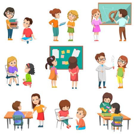 Education vector, isolated set of schoolchildren with teachers. Chemistry and geometry lessons, projects made in pairs, students reading books, back to school concept. Flat cartoon