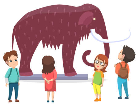 Schoolkids in natural history museum. Exhibition with mammoth with fur, big tusk and trunk. Group of children carefully looking and studying prehistoric exhibit. Vector illustration in flat style Vector Illustration