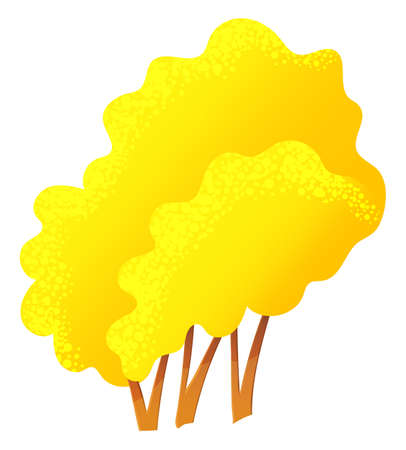 Yellow bright autumn tree or bush with a lush crown, thin brown trunk and branches isolated on white. Vector illustration of big plant with foliage round shape, landscape element in cartoon concept  イラスト・ベクター素材