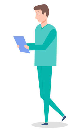 A man doctor holding a clip board isolated on white. Male character wearing medical clothes goes to meet the patient in clinic. Medical worker in a doctor s suit with an appointment sheet in hands