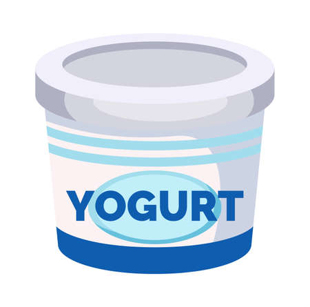 Yogurt vector icon. Jar with a milk drink isolated on white background. White container with blue stripes. Dairy natural product organic food, dairy drink. Healthy lifestyle and nutrition, baby food