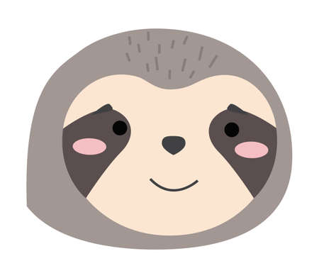 Cartoon portrait of the sloth isolated on white. Cute idler flat vector illustration. Muzzle of wild animal icon. Forest inhabitant head one object. Emoji funny animal. Embarrassed smile emotion  イラスト・ベクター素材
