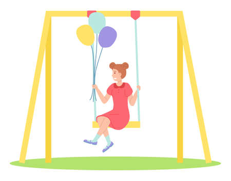 Girl holding bunch of balloons swinging on a slide swing at the playing field. Happy cartoon kid playing in playground on the backyard. Childrens summer playground . Kids summer outdoor activities