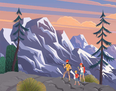 Man,woman, children, family hikers traveling trekking with backpacks in mountains forest cartoon vector illustration. Happy family hiking nature, father mother and son walking through the mountains