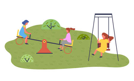 Happy cartoon kids playing in playground on the backyard. Childrens summer playground with slide swings in modern kindergarten. Kids summer outdoor activities. Girls play together at the playing field 向量圖像
