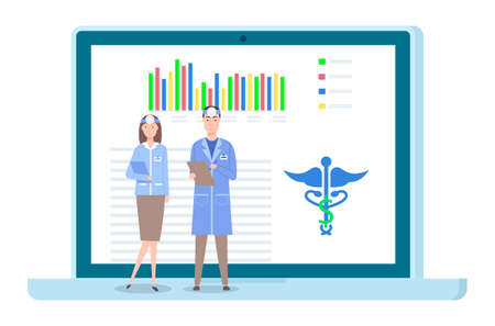 Doctors at a medical conference, information meeting. Consultation with doctor. Man and woman otolaryngologist use medical electronic application. Monitor screen with app for online conversation Vector Illustration