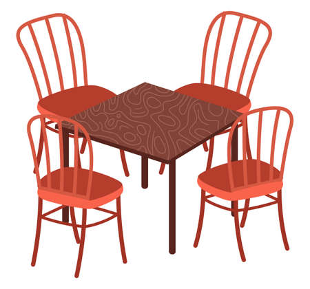 Table and chairs, indoor or outdoor wooden and plastic furniture. Vector illustration dining room furnishings on white background. Daily view place to eat, bistro or cafe, home design interior Ilustracja