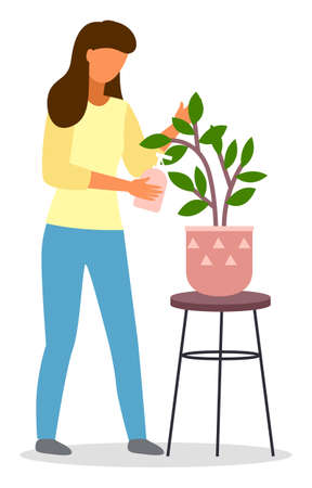 Young woman florist pouring watering decorative houseplant at home or office isolated on white. Home gardening or growing flowers hobby illustration. Decoration, care, floristics, business concept.