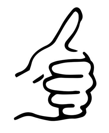 Thumb up icon. Hand gesture, clenched fist and finger raised up, outline style flat vector illustration. Good symbol for website design, logo. The sign is all very good, I m fine. Gesture hitch-hiking