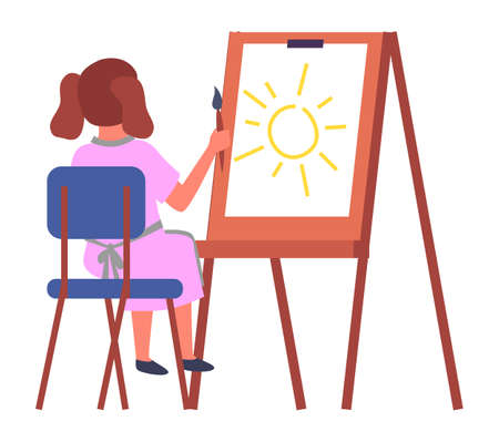 Little girl sitting on the chair near the easel and drawing aquarell paints on large sheet of paper, education and child development concept illustration. Kid holding paint brush in hand back view 向量圖像