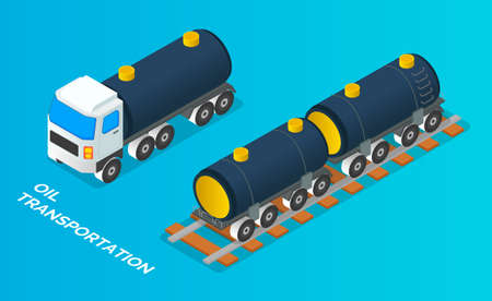 Truck with tank for transportation fluid cargo. Oil petroleum transportation tank car isometric vector. Cistern with fuel, oil, gas or liquid stand on railway platform. Transportation of liquid cargo 向量圖像