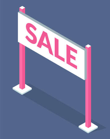 Illustration of white sale sign with pink lettering on grey background. Promotional sale signal. Seasonal discounts at the supermarket. Advertising sign on the desk with stand stands on supports