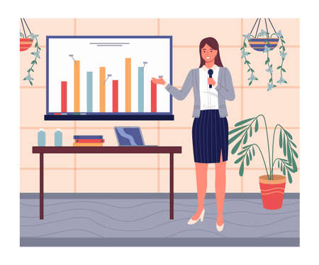 Confident smiling woman wearing office suit and shoes on heels show presentation with graph, diagram at digital board. Businesswoman talking with microphone. Table with laptop and office folders