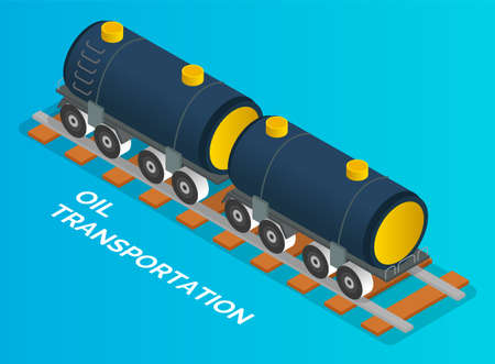 Oil petroleum industry concept. Transportation oil with railway carriage. Isolated vehicle at blue background. Transport filled with petroleum. Isometric cartoon 3d illustration. Commercial delivery