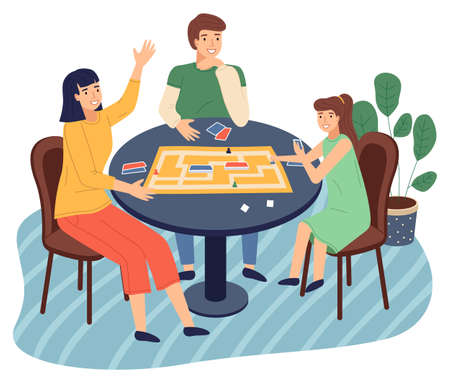 Happy family spend time at home. People playing in table game with cards, labyrinth. Mother, daughter, father play together at home. Indoors home activity, hobby. Relationships of parents and kids Vecteurs
