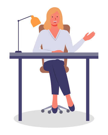 Vector illustration of businesswoman sitting at the table in the office and working. Lady gesturing waving hand. Isolated woman smiling, wearing office suit. Workplace of office worker, lamp at table