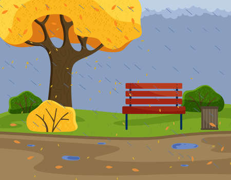 Autumn park background view with strong rain, cold damp weather, scene with bench, yellow tree and bushes, trash bin, orange leaves and puddles on road, gloomy, overcast cloudy day, nobody around