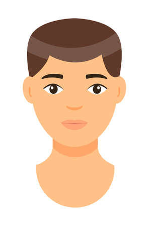 Vector cartoon character. Concept of avatar of young man with brown hair. Isolated at white background portrait of caucasian person. Brunet adult guy with short haircut Handsome man. Face of white man