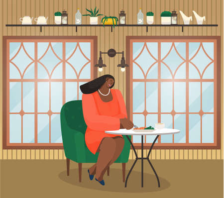 Cafe interior or restaurant, young african woman sitting at table eating, have lunch or dinner, black lady wearing stylish office dress and accessories relaxing resting at soft armchair holding fork
