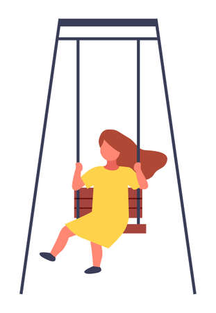 Child spending time at playground, kindergarten. Kid have fun, recreation. Girl rest relax on swing. Little girl wearing yellow dress swinging. Playtime concept. Isolated faceless chartoon character