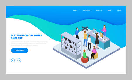 Landing page of website, distributor customer service. Isometric image with people in tech store buying digital device. Online consultation at website with distributors. Personalized help to customers