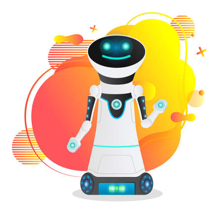 Cute futuristic robot at abstract background. Artificial intelligence, innovative model. Realistic smiling robot with full battery charge, with raised hand. Working android, cybernetic science concept