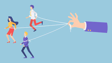 People marionettes connecting with ropes. Businessman s hand holding ropes, control every step of workers. No freedom, total control of motions. Manipulating people with rope, businessman puppet Illustration