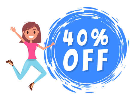 Young smiling stylish girl jumping, waving hand, rejoice a promo action. 40 off sale. Promotional poster or banner for shops. Sale products, discount offer. Proposal to save money. Economy concept Ilustração