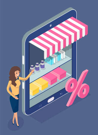 Online shopping. Isometric 3d digital tablet with online shop. Woman distributor presenting discounts, sale in online store. Seller lady with standing near shelves with goods. E-commerce concept