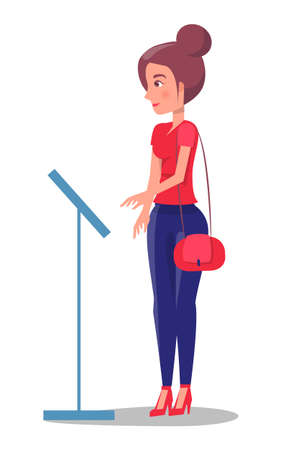 Woman buyer near stand with information, female reading about product or good, isolated cartoon character in flat style, young lady with stylish hairstyle and bag on her shoulder, portrait of girl