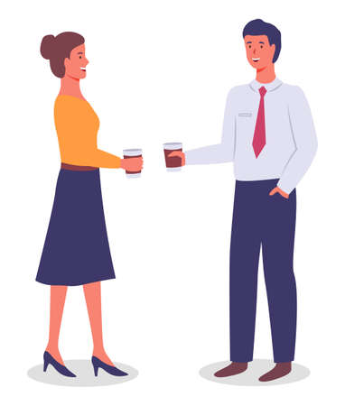 Vector flat illustration of office workers standing holding paper cups with drinks, tea or coffee. Managers have coffee break. Colleagues communicating, talking. Young executive guy and woman talk
