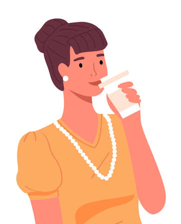 Happy smiling confident woman with hairstyle, wearing accessories, drinking tea or coffee from paper cup. Portrait of businesswoman wearing yellow blouse and white beads. Flat vector illustration