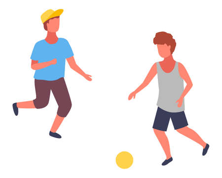 Two boys playing football. Boy in cap and blue t-shirt playing with ball and his friend in shirt. Kid s outdoors activity or hobby. Isolated cartoon faceless children have fun, have recreation