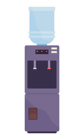 Cooler or water dispenser, equipment for heating and cooling, plastic bottle with fresh mineral water, symbol or element of office interior, apparatus for drink, automatic machine for using at home  イラスト・ベクター素材