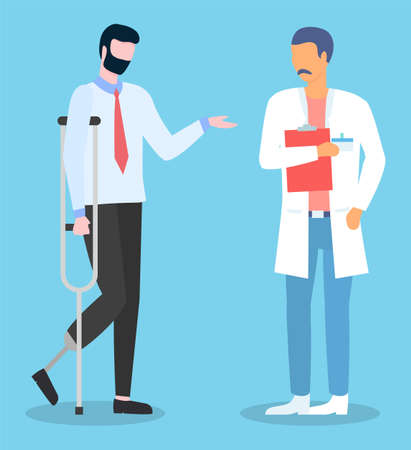 Man with prosthesis instead of leg talking with doctor. Patient with crutches ask advice in physician. Disabled man have meeting with rehabilitologist. Handicapped man talking with medical specialist 일러스트