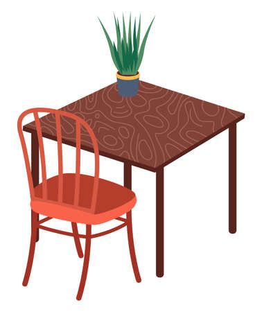 Isolated chair, table with green plant in pot at white background. Modern stylish furniture for home or office. Cozy place for rest, sitting, seat. Comfortable wooden armchair. Vector illustration