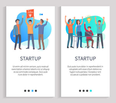 Startup vector, successful teamwork of people working in one sphere, man with great idea, success and achievement of workers with lightbulb. Website or slider app, landing page flat style