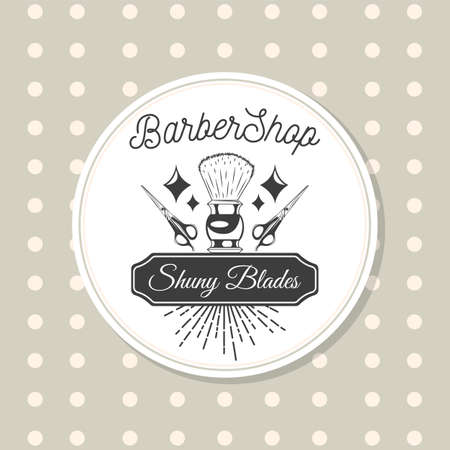 Shaving brush, hairdressing scissors, rhombic patterns, lettering Barbershop, lettering in black frame Shuny blades. Vintage logo in white circle. Gray dotted background. Shaving or haircutting tools
